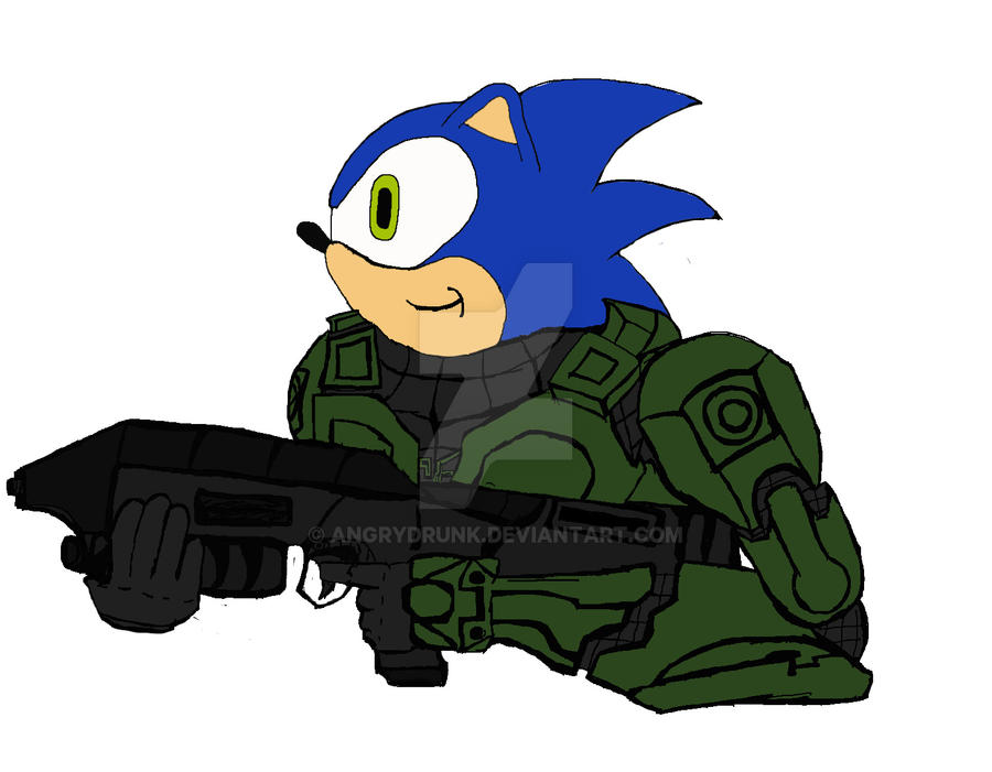 Sonic as Master Chief by AngryDrunk