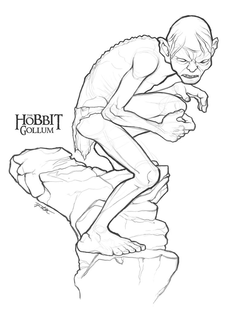 gollum sketch by ancoradesign on deviantart - Hobbit Dwarves Coloring Pages