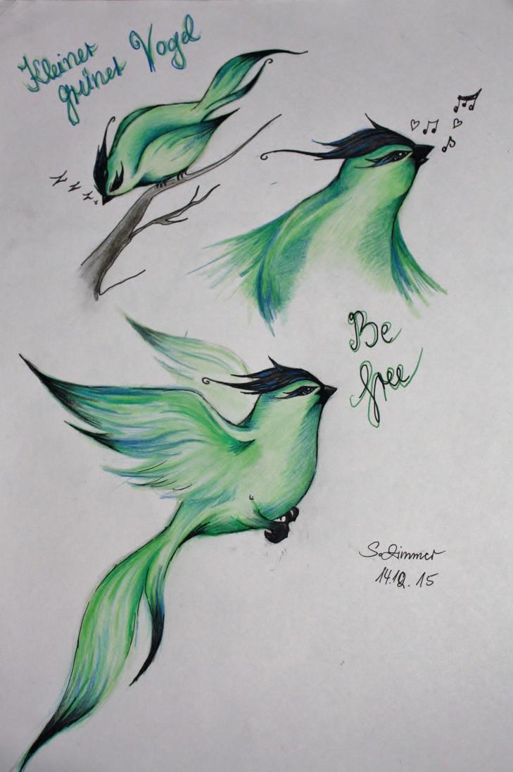 Kleiner gruener Vogel: Erste Flugversuche by kiwi2710