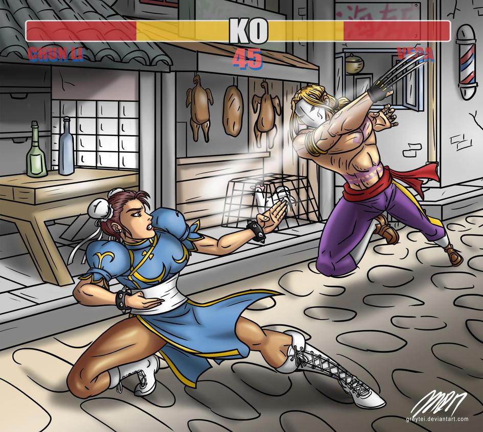 Chun Li vs Vega by greytei