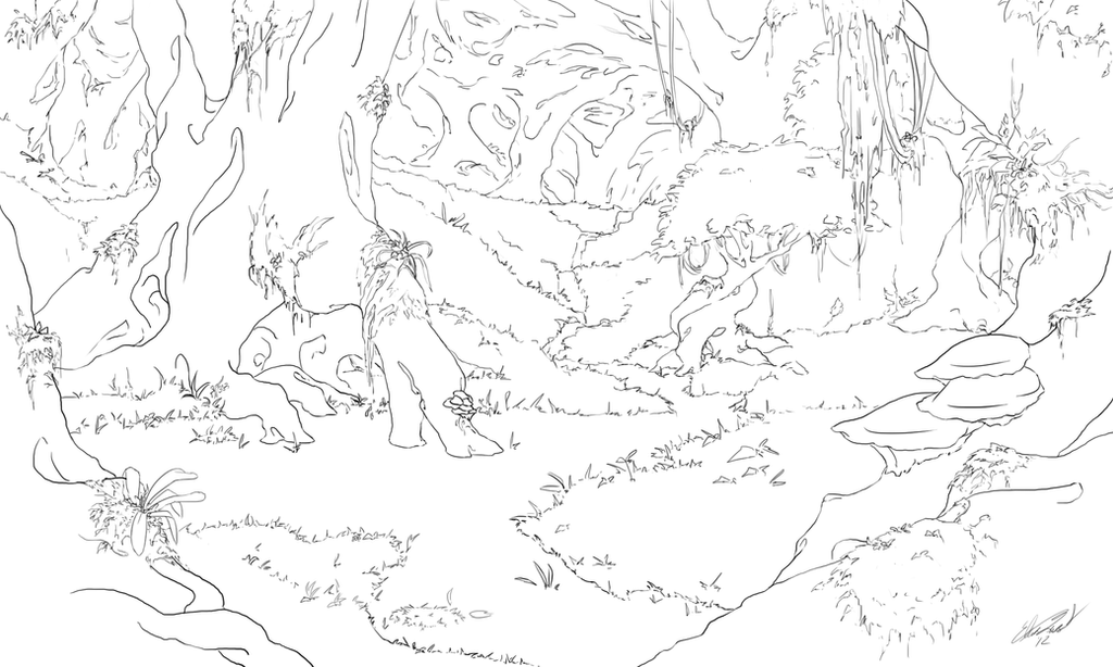 Line Art Forest : Forest line art by alrynnas on deviantart