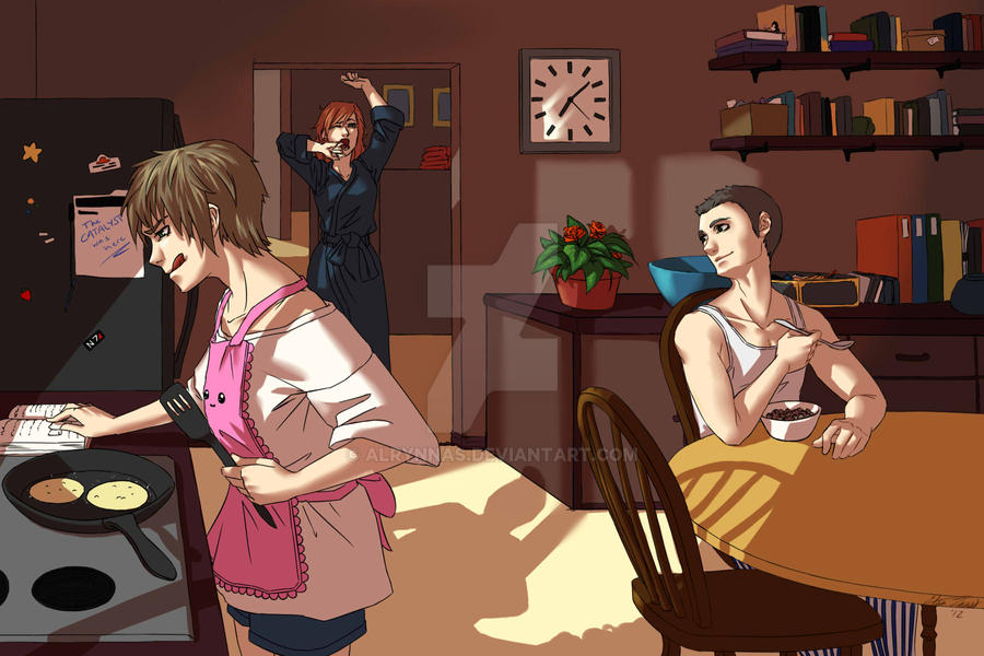 Commission: A Morning Routine - Mass Effect 3 by Alrynnas