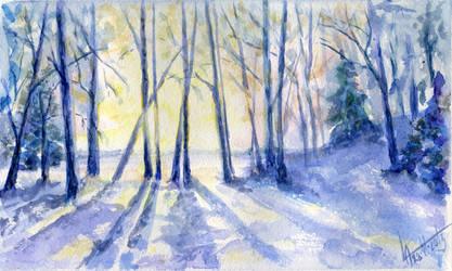 Winter landscape 21. Watercolour.