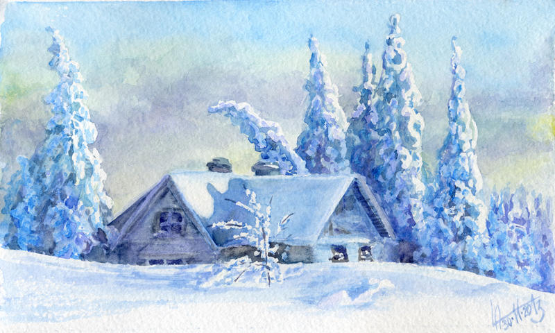 Winter landscape 23. Watercolour. by alartstudio
