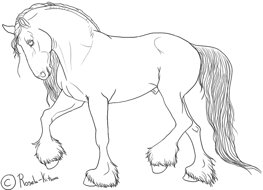 Friesian horse printing pictures coloring pages ~ Draft Horse Coloring Pages For Kids