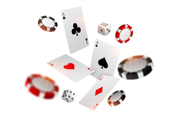 Playing-casino-card-chips-dice-flying-background 1