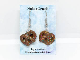 Clay Chocolate Covered Pretzel Earrings by SolarCrush