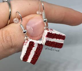 Red Velvet Cake Earrings by SolarCrush