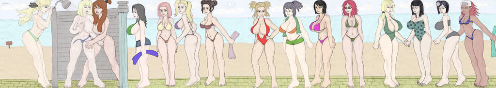 Naruto girls on the beach by chambs