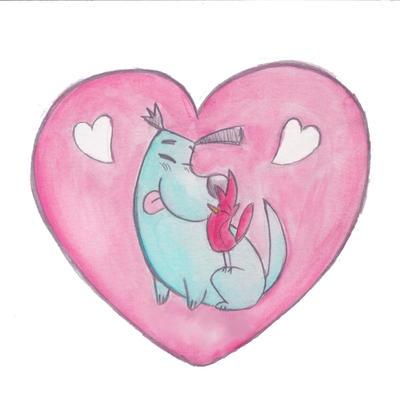 Doggie Bird Valentine by RockLobstar