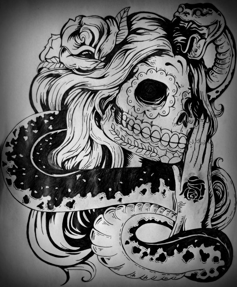 Calavera mexicana y serpiente by Lenvka on DeviantArt