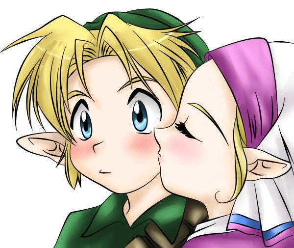 Zelda Kiss colored by NarutoxHinatafanZelda And Link Kiss Ocarina Of Time