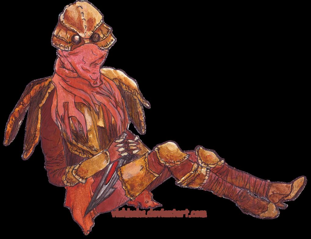 Dunmer in chitin armor by VishKeks