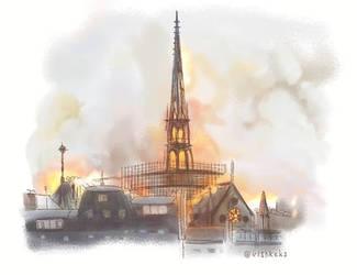 Notre-Dame de Paris on fire by VishKeks