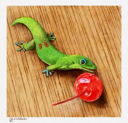 Gecko licking cherry