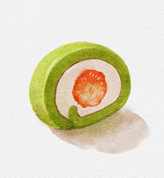 Matcha roll with strawberry (shadows ver)