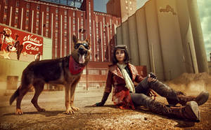 Piper Wright and Dogmeat Cosplay