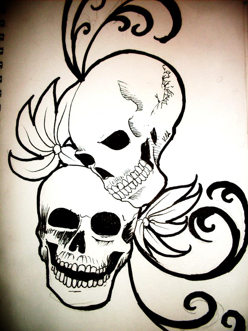 skull tattoo by MurasakiButterfly