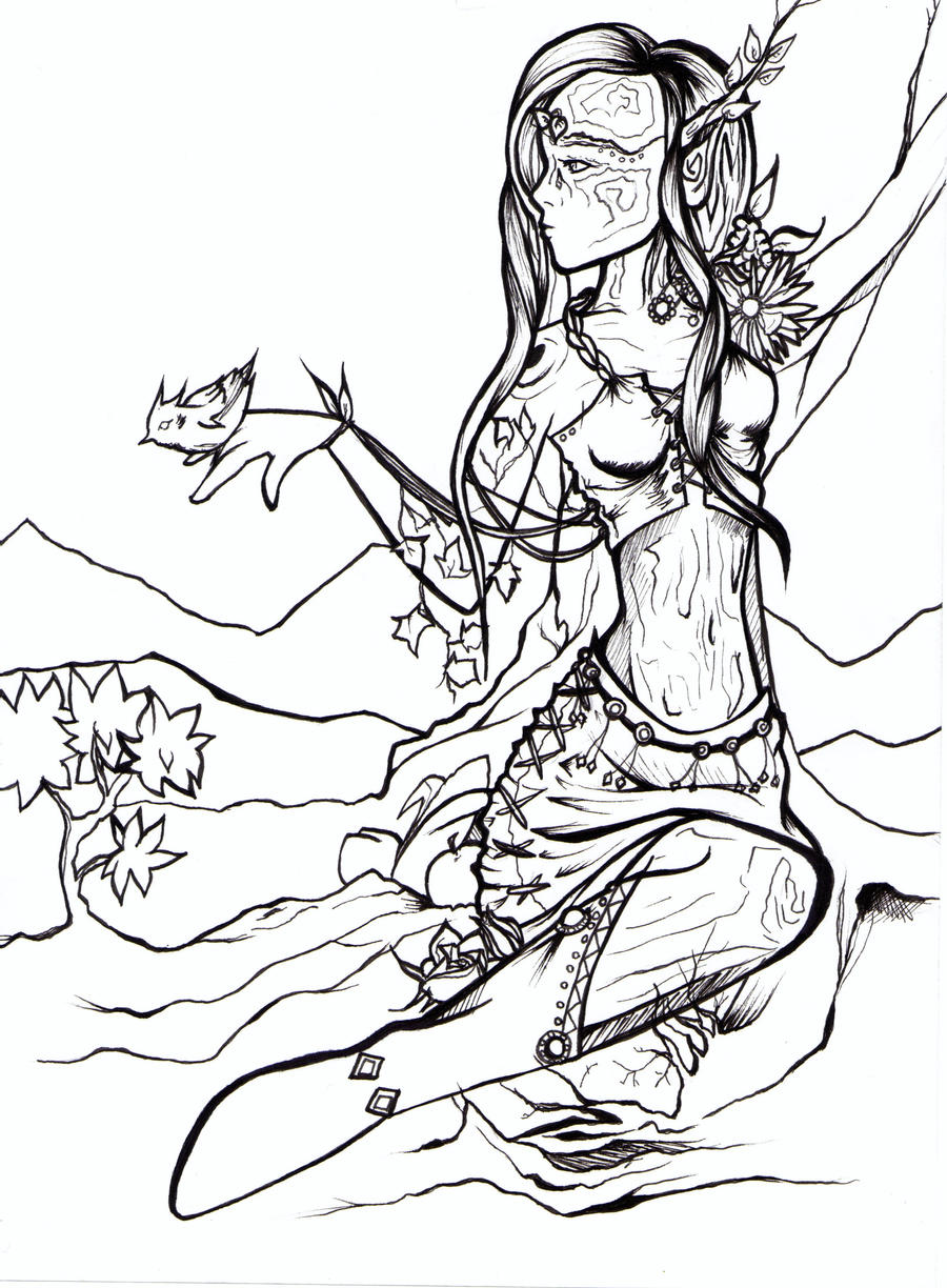 Line Drawing Nature : How to draw mother nature