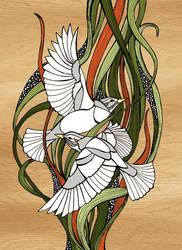 Two birdies - color version by sunnasdoodles