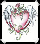 Winged Heart with Roses