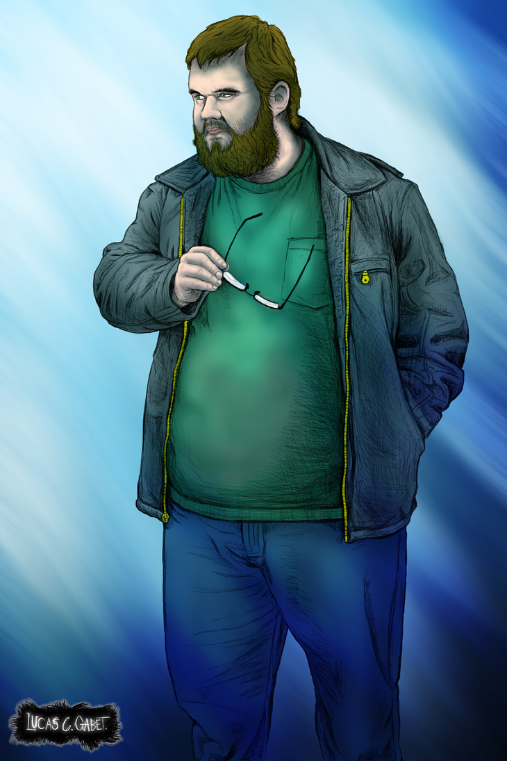 Self Portrait - Holding my Glasses - Colored by LucasCGabetArts