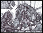 Ghaalinda and Felicity Fight the Dracogriffs