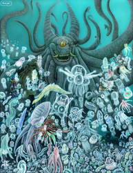 The Umibozu King and Sea Creatures by LucasCGabetArts