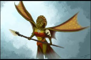 Alternate Concept Art- Lizard Fighter by AlynC