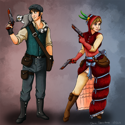 Victorian Smuggler Female and Male Concept Redone by AlynC
