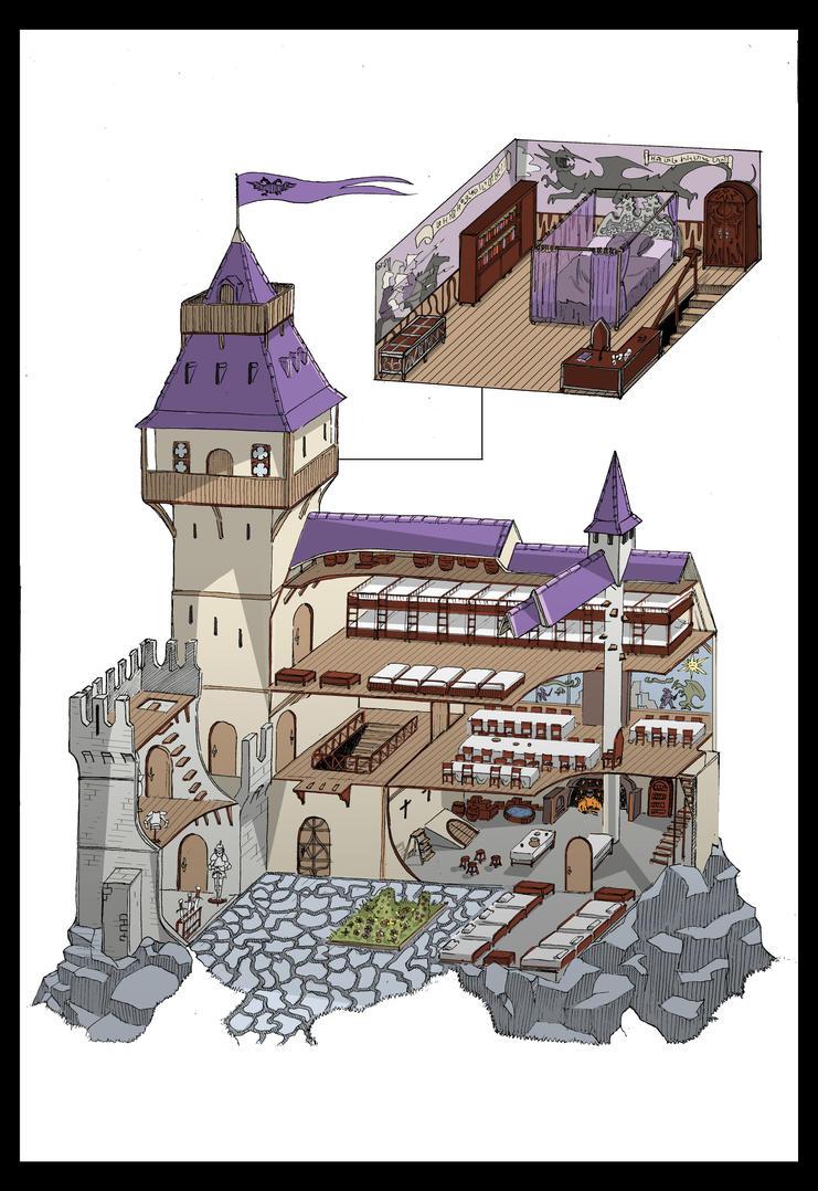Fantasy castle interior design by Dracozauryks
