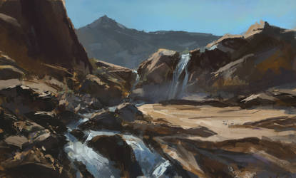 Waterfall and Rocks Sketch