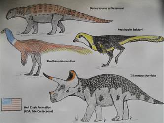 Hell Creek Formation Dinosaurs III by RaptorGorilla