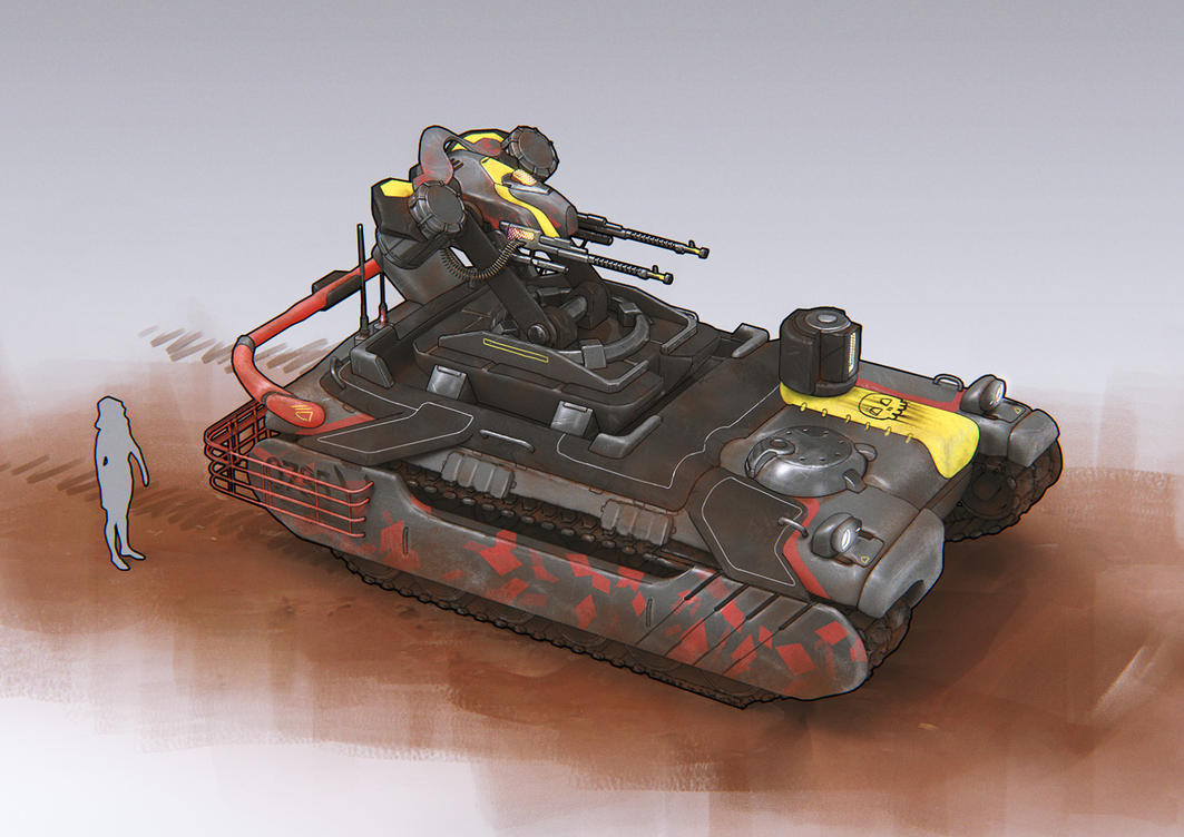 Military tank with machine gun turret by NickProkoArt