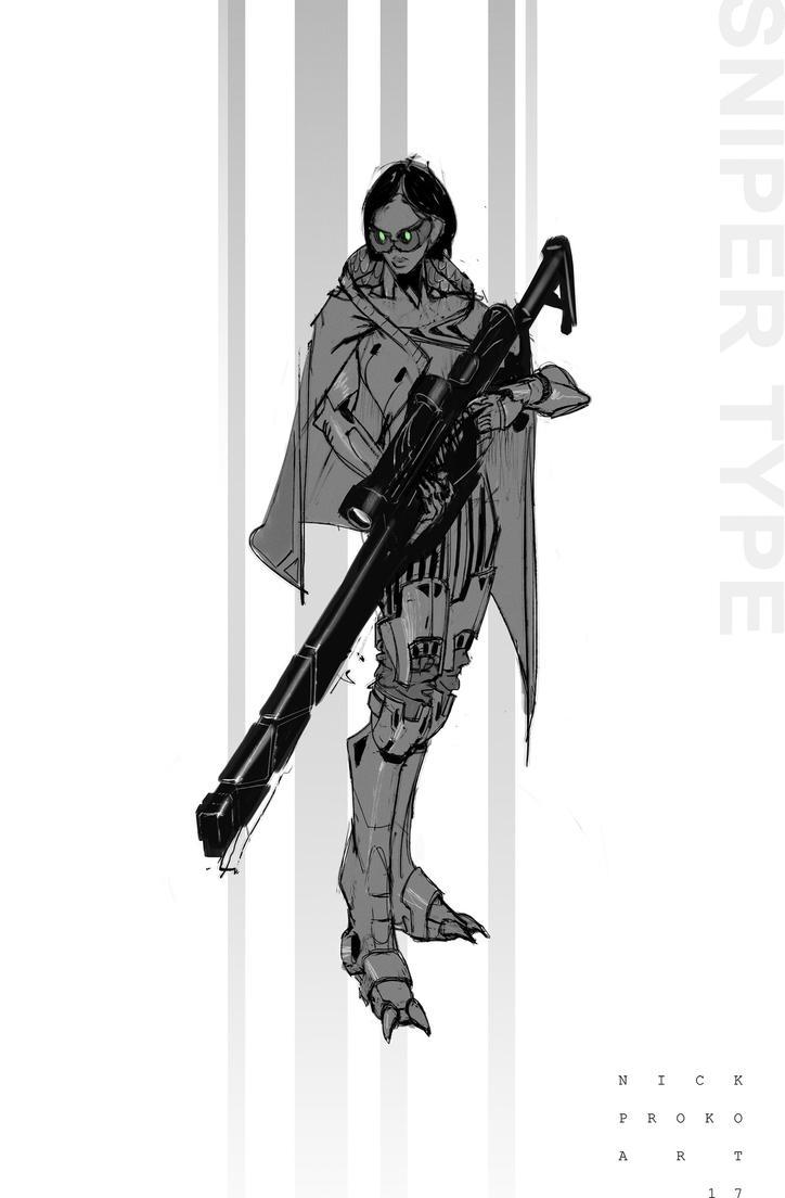 Sniper type sketchy concept hero :) by NickProkoArt