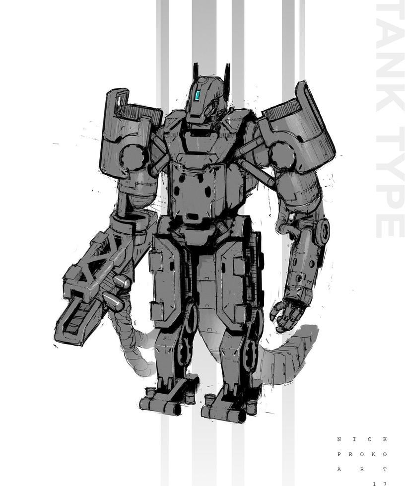Tank type sketchy concept hero by NickProkoArt