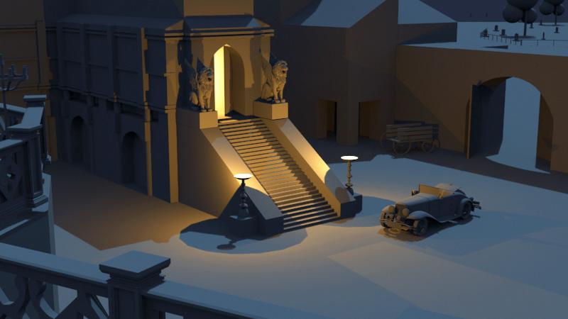 Dracula (graybox scene for my new work) by NickProkoArt