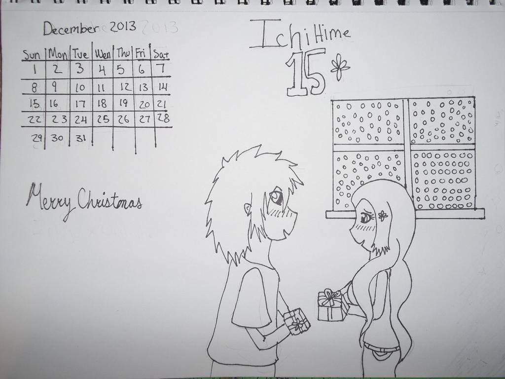Ichihime december calender 2013 line art by AlyHisanaKurosaki16