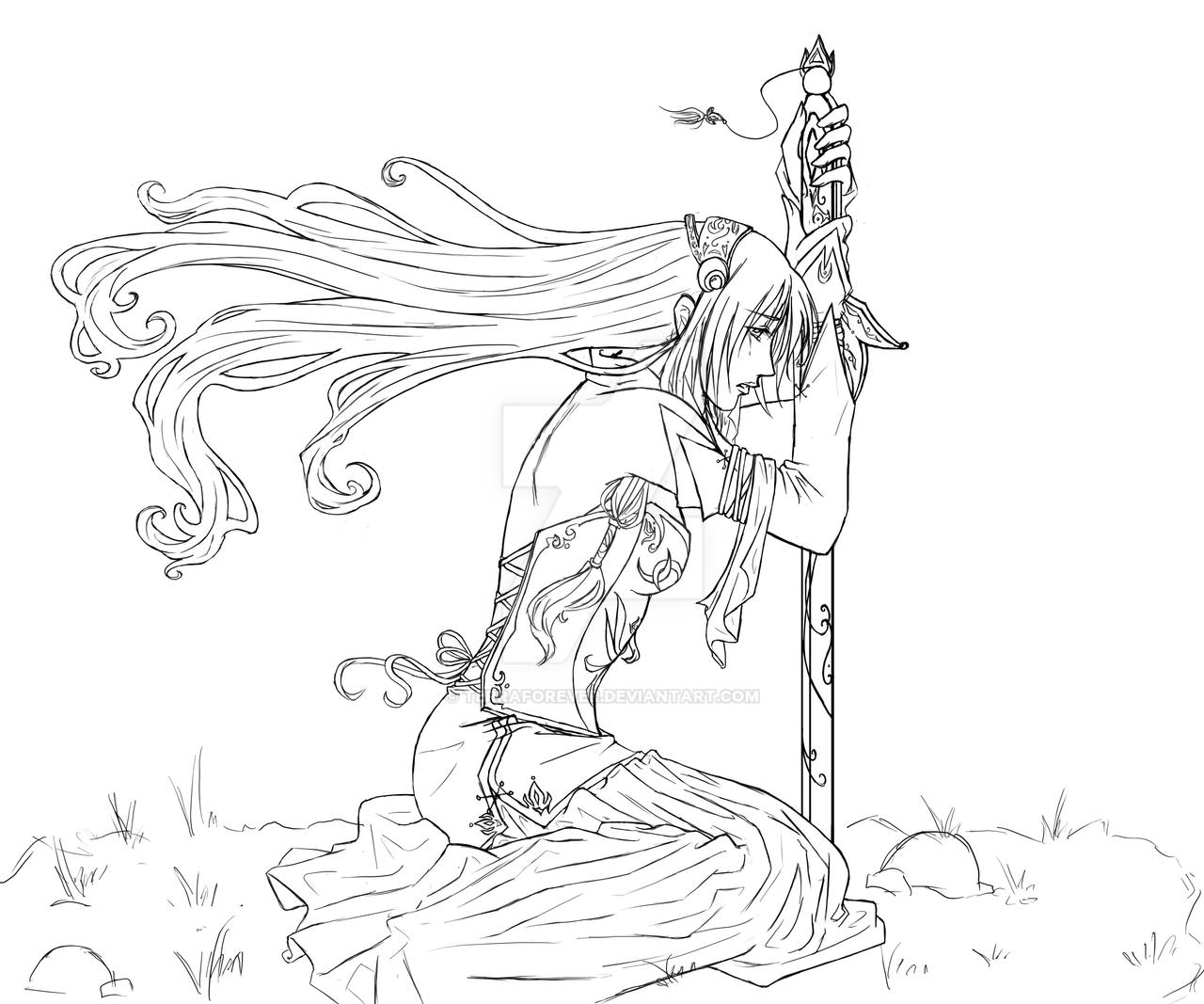 Fall to Your Knees Lineart by TerraForever on DeviantArt