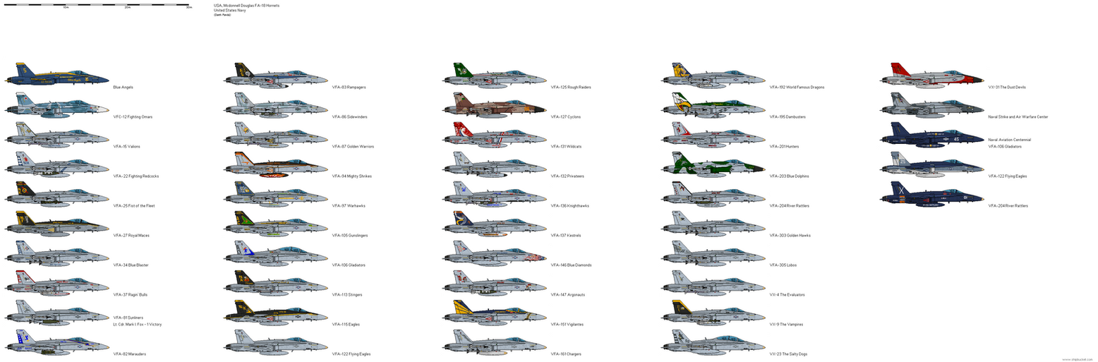Mcdonnell Douglas Fa 18 Hornet Us Navy Squadrons By