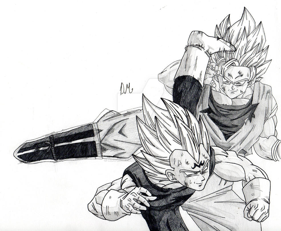 Majin Vegeta Vs Ssj2 Goku Lineart By Brusselthesaiyan On: A Semi-Old DBZ Drawing: SSJ2 Goku Vs Majin Vegeta! By