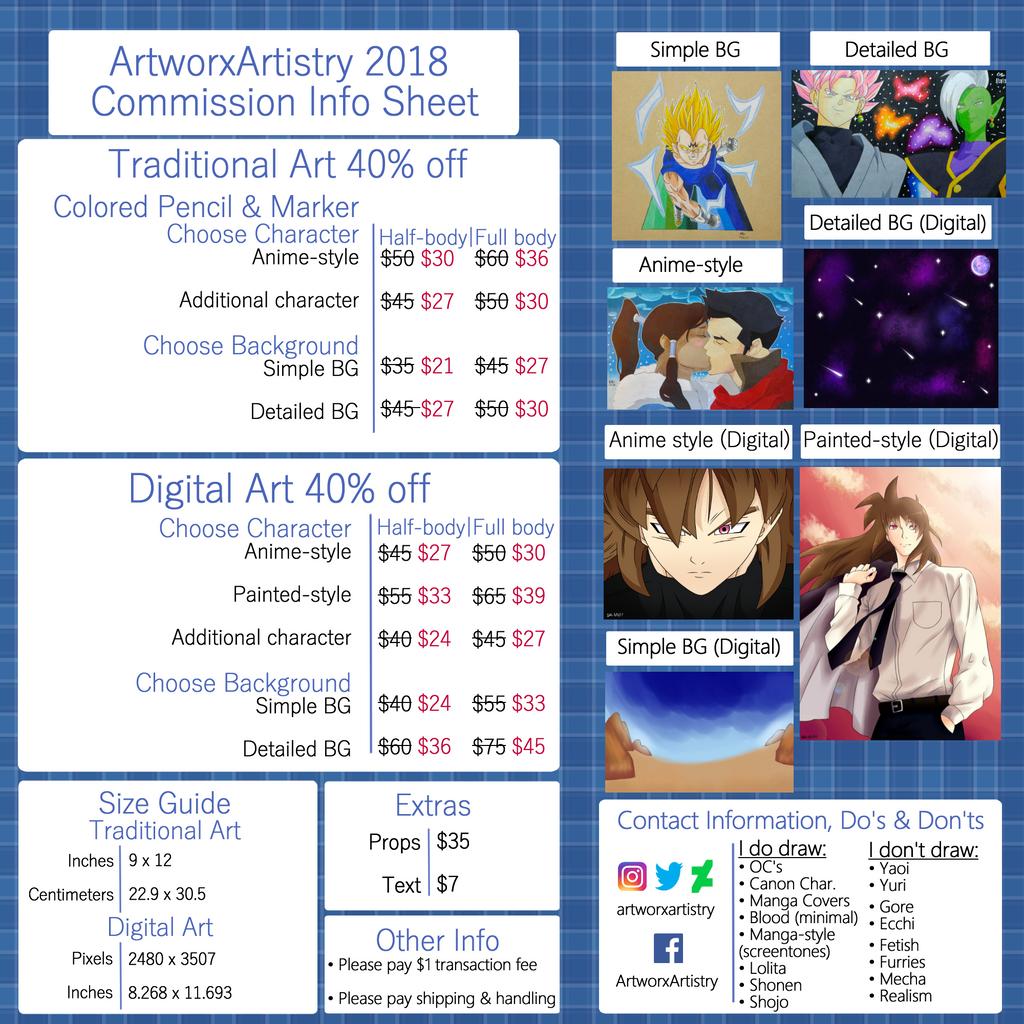 ArtworxArtistry 2018 Commission Info Sheet