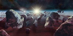 Commission - Asteroid Field by Aaraujo