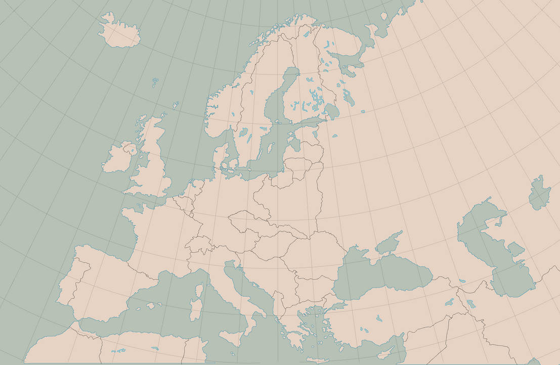 Blank Map of Europe, 1938 Borders and Graticule by Kuusinen on ...