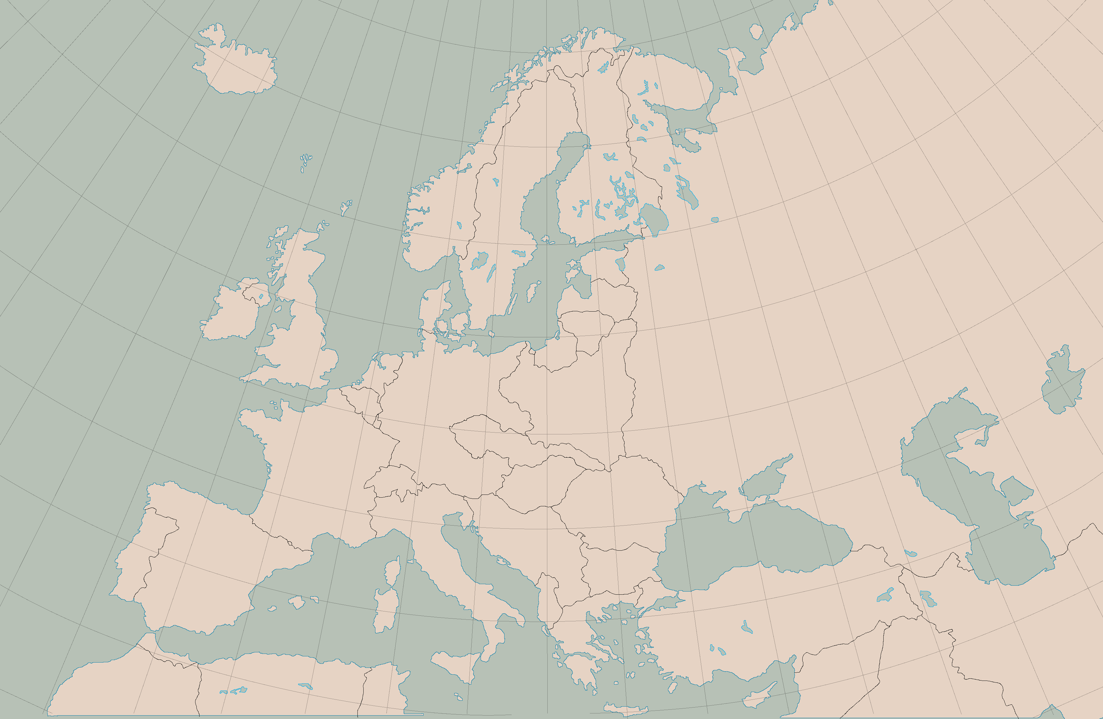 ... Blank Map Of Europe, 1938 Borders And Graticule By Kuusinen