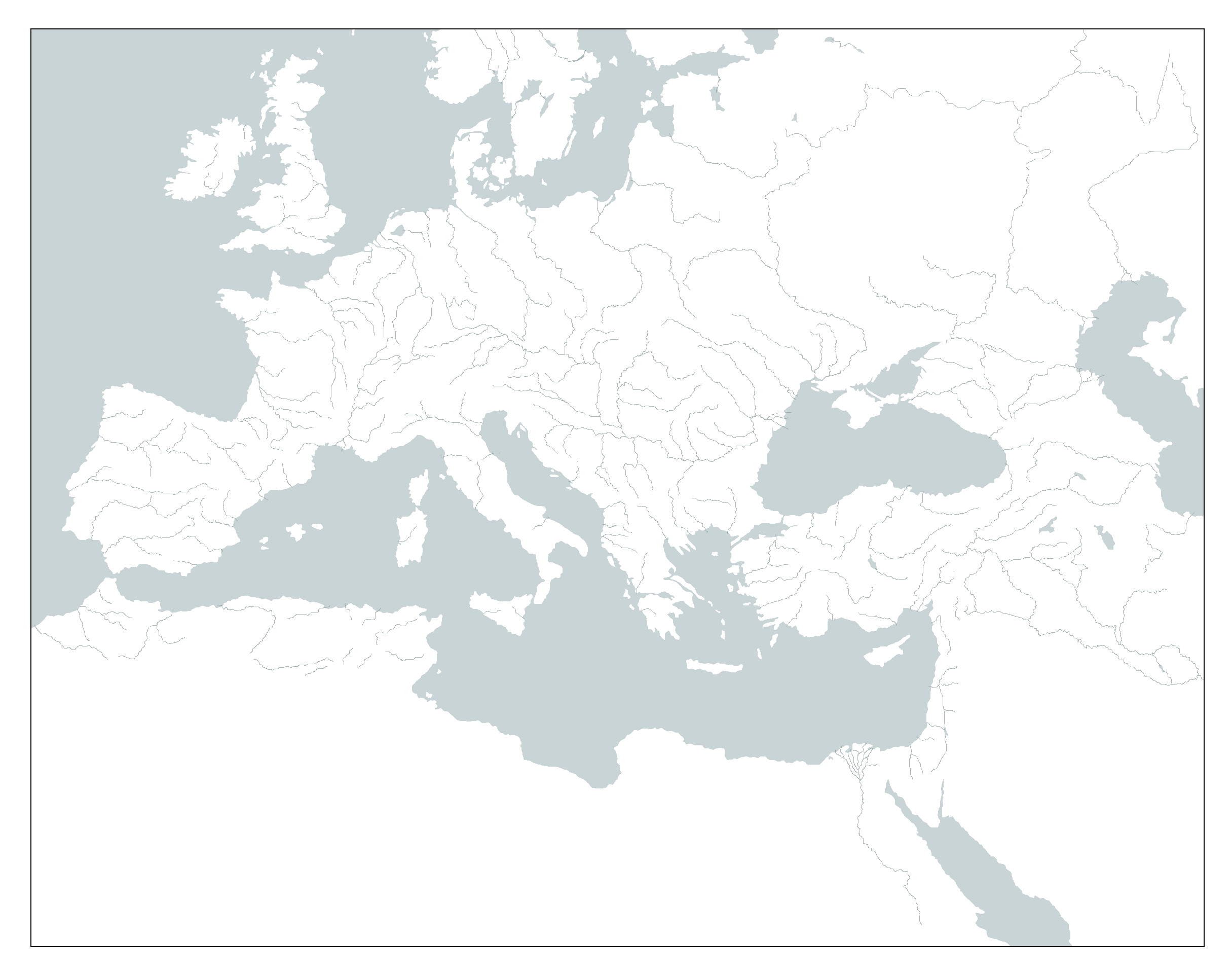 Blank Map of Europe and North Africa (rivers) by Kuusinen on