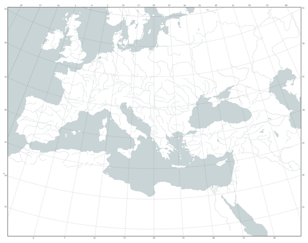 Blank Map Of Europe And North Africa Graticule By Kuusinen On - Blank map of north africa