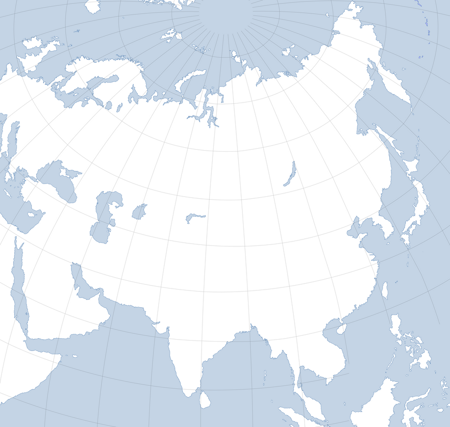 Blank Map Of Asia With A Graticule By Kuusinen On DeviantArt - Blank map of asia
