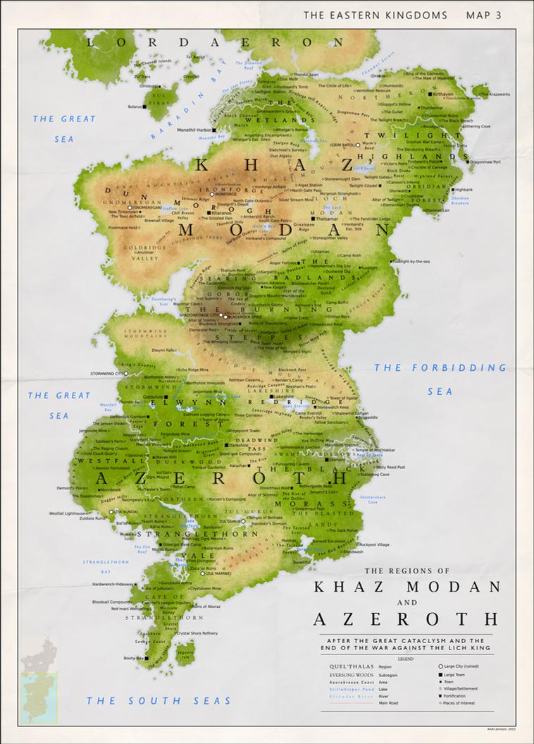Detailed Map of Khaz Modan and Azeroth by Kuusinen on DeviantArt