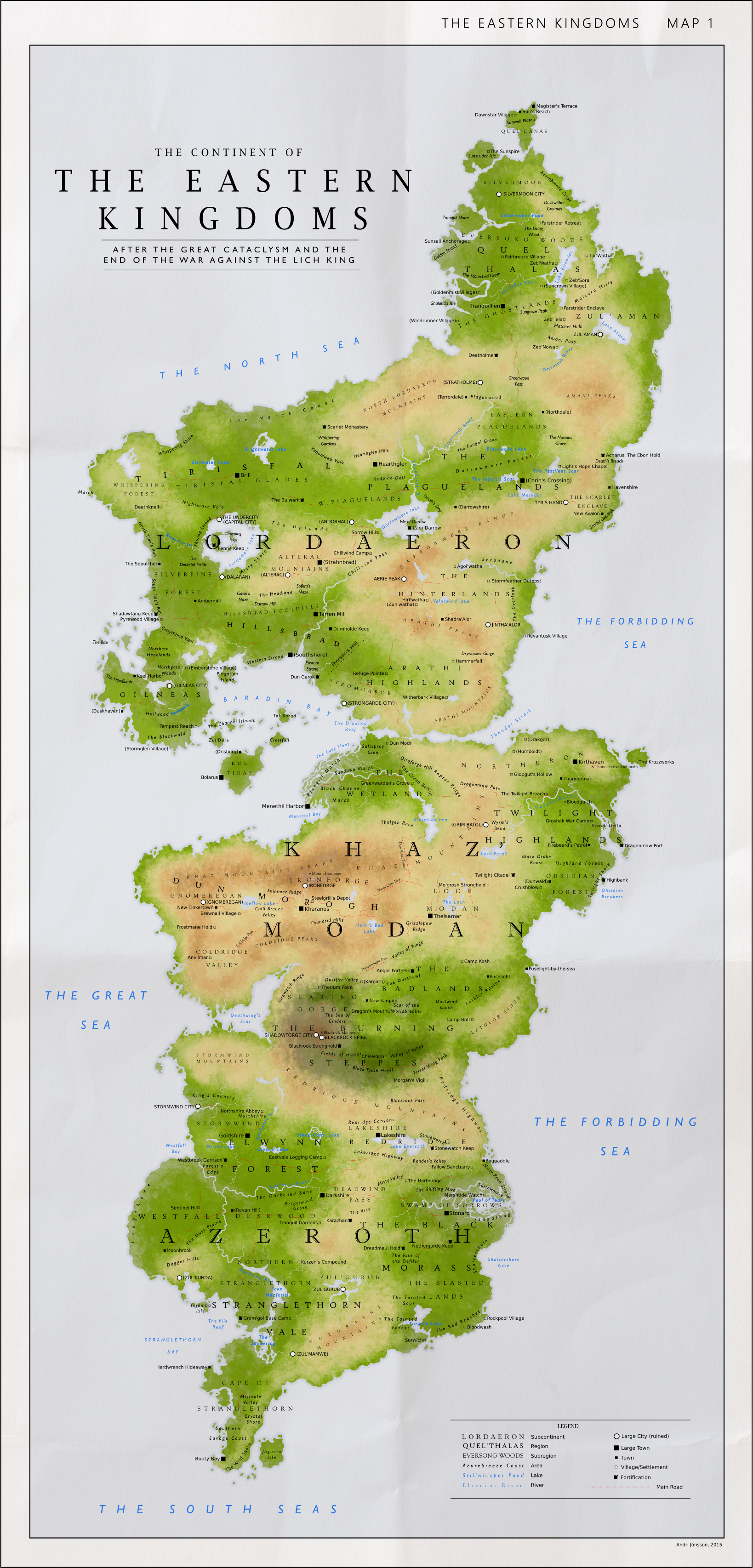 Eastern Kingdoms Map Detailed Map of the Eastern Kingdoms by Kuusinen on DeviantArt